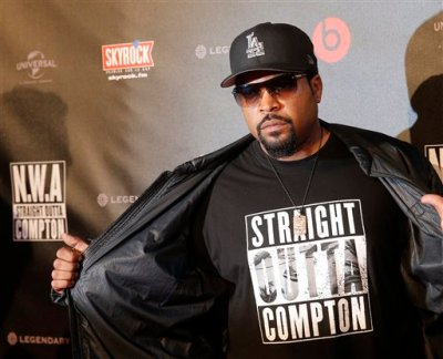 U.S music producer and rapper O'Shea Jackson, also known by his stage name Ice Cube poses during the French premiere of  Straight Outta Compton, in Paris, Monday Aug, 24, 2015. The movie, will open in France on Sept. 16. (AP Photo/Christophe Ena)