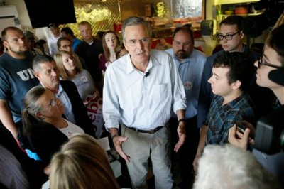Republican presidential candidate, former Florida Gov. Jeb Bush speaks to supporters during a meet and greet with local residents at Gravy's Diner, Tuesday, Sept. 22, 2015, in Cedar Falls, Iowa. (AP Photo/Charlie Neibergall)