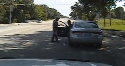 In this July 10, 2015, frame from dashcam video, trooper Brian Encinia gets into a confrontation with Sandra Bland, leading to her arrest and ultimately her death. (Texas Department of Public Safety via AP)
