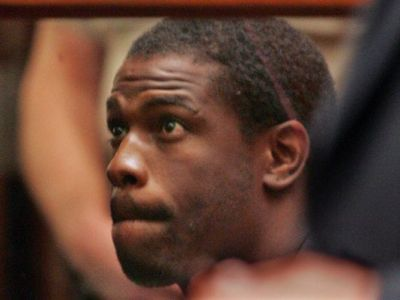 Lawrence Phillips, appearing in court in 2005, pleaded not guilty to murder charges Tuesday in Bakersfield, Calf. (Anne Cusack/AP Photo)