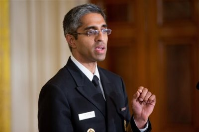 """In this Aug. 3, 2015, file photo, U.S. Surgeon General Vivek Murthy speaks in the East Room at the White House in Washington. Take a walk: That's the U.S. surgeon general's prescription for sedentary Americans _ but communities will have to step up, too, and make neighborhoods easier and safer for foot traffic. Only half of adults and just over a quarter of high school students get the amount of physical activity recommended for good health, Murthy said in a """"call to action"""" being issued Sept. 9. (AP Photo/Andrew Harnik, File)"""