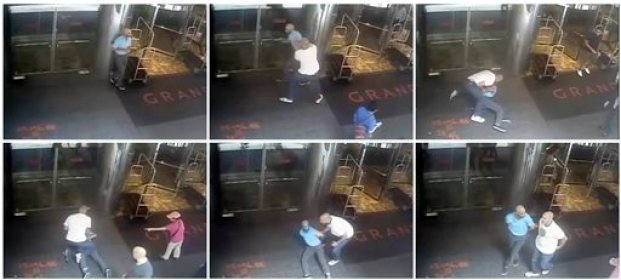 """This combo of images taken from a surveillance camera and released by the New York Police Department shows former tennis star James Blake being arrested by plainclothes officer James Frascatore outside of the Grand Hyatt New York hotel on Wednesday, Sept. 9, 2015, in New York. Blake was mistaken for an identity-theft suspect that Police Commissioner William Bratton said looked like Blake's """"twin."""" Bratton apologized to Blake. (NYPD via AP) NO SALES"""