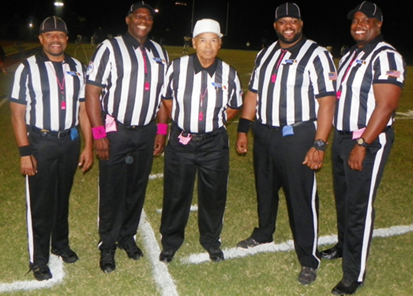 """Arizona's first and only all-Black high school football officiating crew (left to right) Stefan Smith, Leslie """"Scooter"""" Melvin, Howard Horton Jr., George Woods Jr., and Robert Frazier. (Vincent Crawford/Arizona Informant)"""
