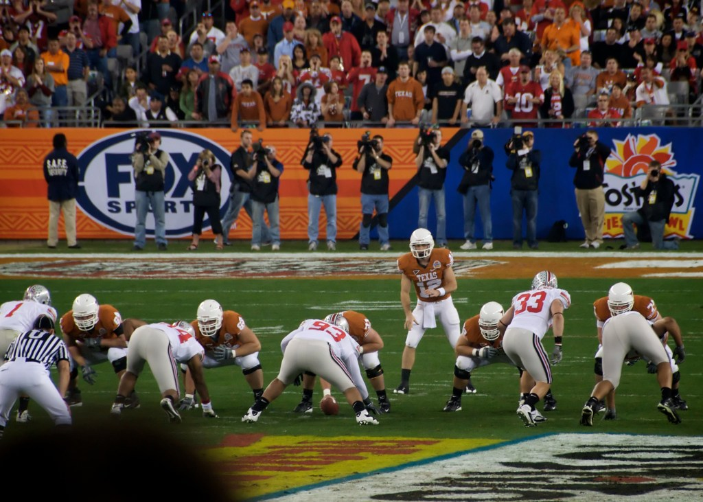 Barnes says that the people who wrote the regulations for the CFP media credentials knew that they would be eliminating a certain segment of our society. This photo was taken during the 2009 Fiesta Bowl in Phoenix, Ariz. (Enoch Lai/Creative Commons)