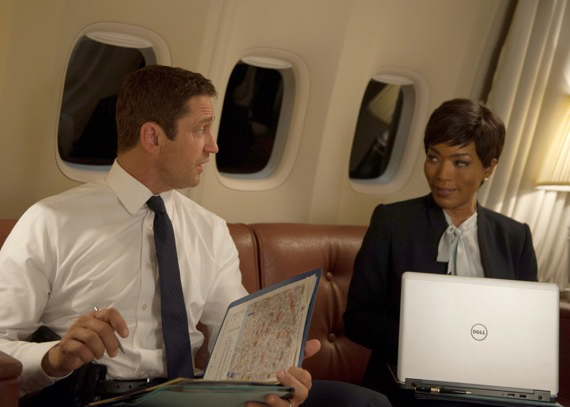 "Gerard Butler (left) and Angela Bassett star in ""London Has Fallen."" (Lionsgate)"