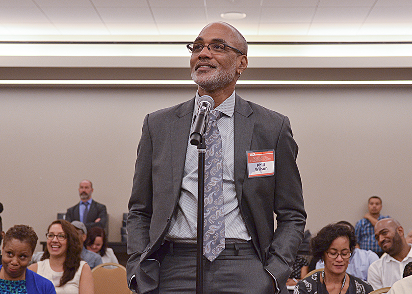 Phill Wilson, the executive director of the Black AIDS Institute, has fought the AIDS epidemic in the Black community for more than 30 years. In this photo, Wilson, the executive director of Black AIDS Institute, asks a question during the Institute's annual PrEP Summit in Washington, D.C. (Freddie Allen/BAI)