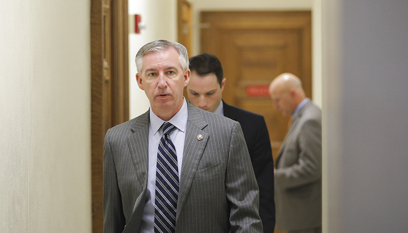 Montgomery County District Attorney Kevin Steele departs the courtroom during the fifth day of deliberations in Bill Cosby's sexual assault trial at the Montgomery County Courthouse in Norristown, Pennsylvania