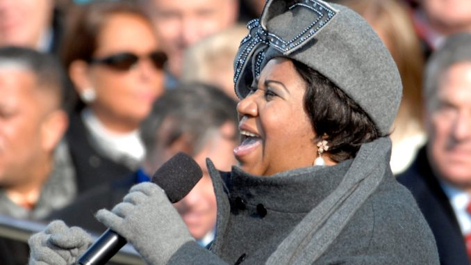 "Aretha Franklin sings ""My Country 'Tis Of Thee'"" at the U.S. Capitol during the 56th presidential inauguration in Washington, D.C., Jan. 20, 2009."