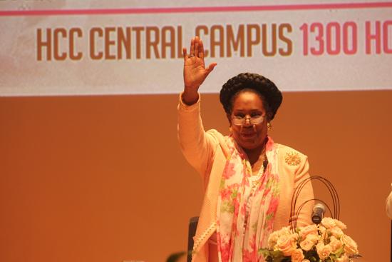 Congresswoman Jackson Lee waves to audience