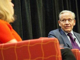 Edward R. Murrow Program participants meet with Bob Woodward, 26 October 2015 (source: Wikimedia Commons)