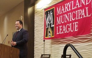 Maryland Democratic gubernatorial nominee Ben Jealous outlines his platform to attendees at the Maryland Municipal League's annual fall conference in Annapolis on Oct. 12. (William J. Ford/The Washington Informer)