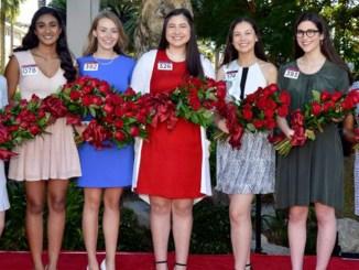 From left to right; Helen Susan Rossi, Rucha Kadam, Lauren Michele Baydaline, Micaela Sue McElrath, Sherry Xiaorui Ma, Louise Deser Siskel, Ashley Symone Hackett. Photo courtesy, Pasadena Tournament of Roses.