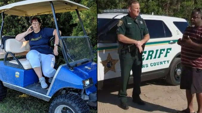 """""""Golfcart Gail"""" (l), who reportedly served as a feild marshall at a youth soccer game in Ponte Vedre, Fla., called the police on soccer dad, Gerald Jones (r), as he shouted to his son from the sidelines. (Screengrabs from Facebook video posted by Ginger Galore Williams)"""