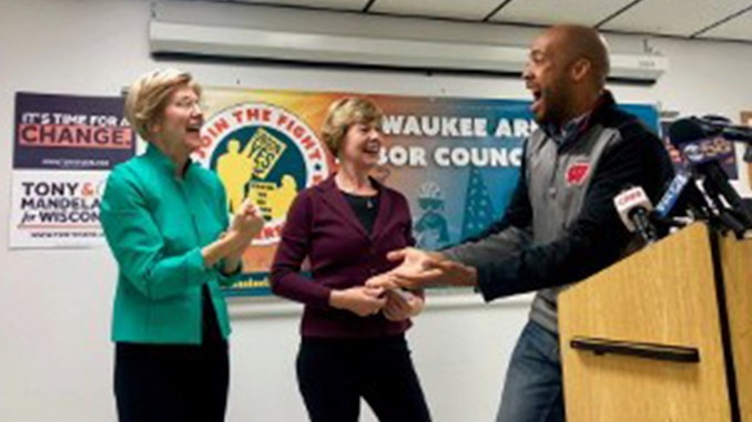 (L-R Elizabeth Warren, Tammy Baldwin and Mandela Barnes) Wisconsin democrats are excited to bring change to Wisconsin. (Provided by Tammy Baldwin campaign)