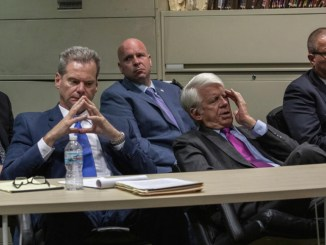 Chicago police Officer Thomas Gaffney, left, ex-Officer Joseph Walsh and former Detective David March sit during a pre-trial hearing with Judge Domenica A. Stephenson at Leighton Criminal Court Building on Tuesday. In front are their attorneys William Fahy (left) and Thomas Breen.   Zbigniew Bzdak/Chicago Tribune/Pool