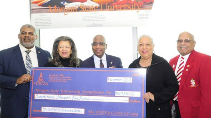 Morgan State University's Class of 1969 presenting the Food Resource Center with a $29,500 check. (Courtesy Photo from Morgan State University)