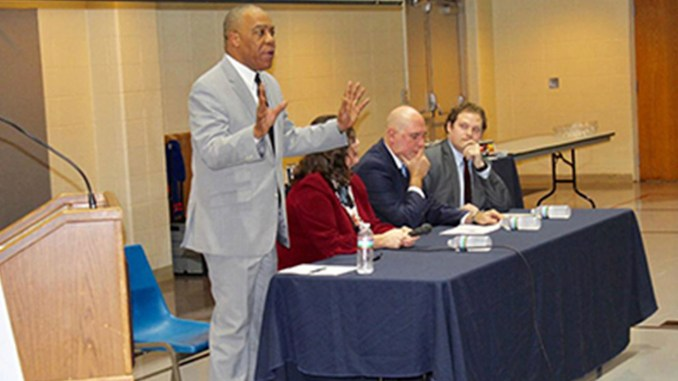 Thurston S. Smith speaks candidly about opioid addiction in Shelby County Nov. 7 at Bartlett United Methodist Church. Joining him for a Q&A are l-r; Dr. Alisa Haushalter, director of the Shelby County Health Department; David Sweat, chief epidemiologist for the health department; and Special Assistant U.S. Attorney Joseph Griffith. Photo by Elatris Estell