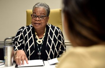Dr. Paulette Patterson Dilworth, Vice President, Diversity, Equity and Inclusion, talks with Keystone Fellow Jessica Valles about her projects in Birmingham, Ala., Wednesday, Nov. 7, 2018. (Photo by Mark Almond)