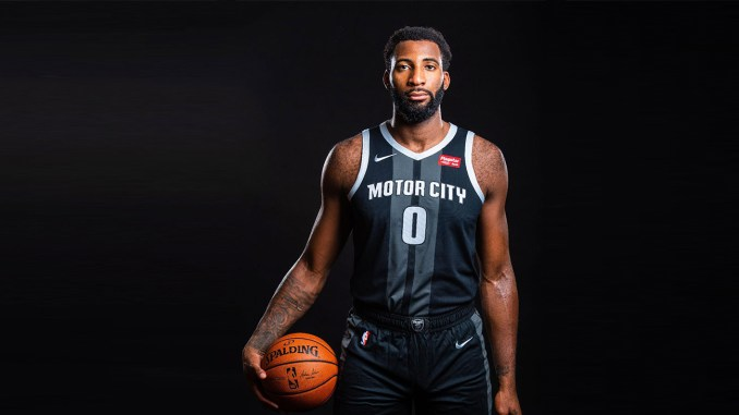 "Detroit Pistons center Andre Drummond sporting the team's  new Nike City Edition ""Motor City"" uniform."