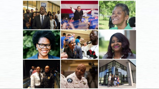 l-r, top to bottom: St. Paul Mayor Melvin Carter, III, MN Attorney-General Elect Keith Ellison; Tonyus Chavers; Angela Conley, Ilhan Omar, Nerita Hughes, Brittany Baker (left), MPD Chief Medaria Arradondo & MN African American Heritage Museum & Gallery