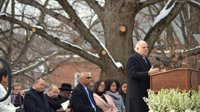 Maryland Gov. Larry Hogan addresses the crowd during his inauguration ceremonies in Annapolis on Jan. 16. (Brigette White/The Washington Informer)