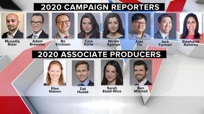 "The outcry began after associate producer Ben Mitchell tweeted a title card featuring images of CBS News' ""political embed unit,"" composed of eight 2020 campaign reporters and four associate producers, including himself."