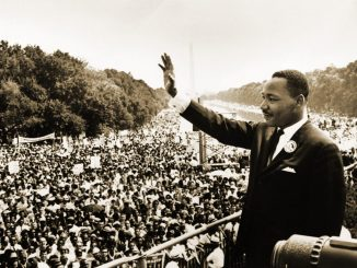 """Martin Luther King, Jr. giving his famous """"I Have a Dream"""" speech at the at the 1963 March on Washington. (Wikimedia Commons)"""