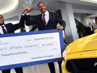 Past HBCU Challenge winners from Clark Atlanta University celebrate a Ford World Headquarters in Dearborn, Michigan. (Photo: Ford Motor Company Fund)