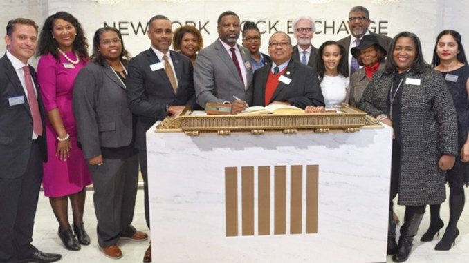 L-R: NAACP Economic Director Marvin Owens, President Derrick Johnson, Board Chairman Leon W. Russell, and NY State Conference President Hazel Dukes, lead in historic ringing of NYSE of closing bell as NAACP launches new ETF on Wall Street (Photo Credit: Justin Knight)