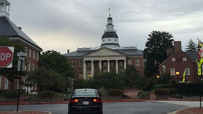 View south towards the Maryland State House from Maryland State Route 70 (Bladen Street) at Maryland State Route 450 (College Avenue) in Annapolis, Anne Arundel County, Maryland. (Photo by: Wiki Commons)