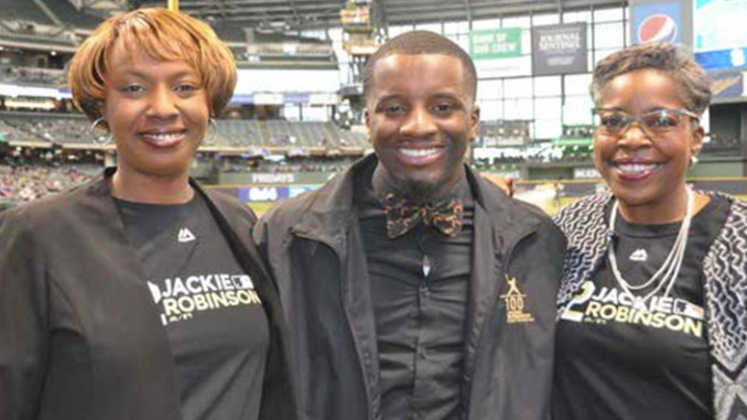Brian Diggs (center) is pictured with Milwaukee Brewers Community Relations Vice President Katina Shaw (left) and Brewers Community Foundation Executive Director Cecelia Gore(right). (Photo by: Yvonne Kemp)