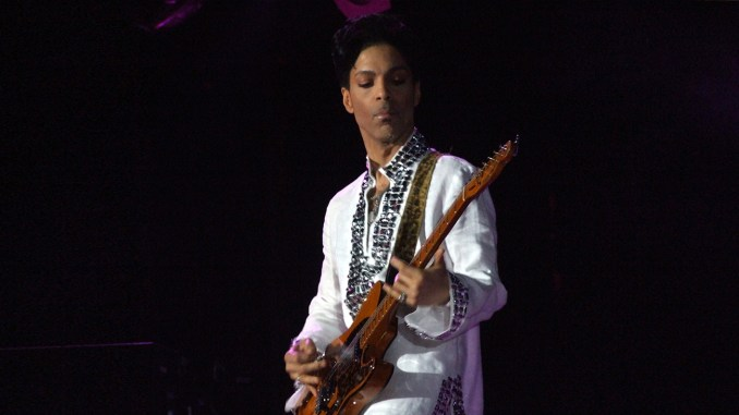 Prince playing at Coachella 2008. (Photo by penner via Wikimedia Commons)