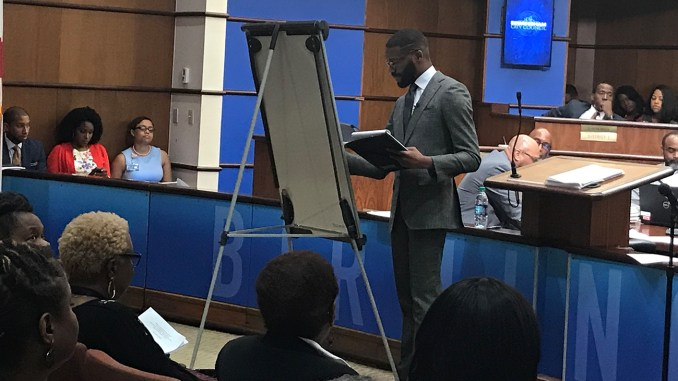 Birmingham Mayor Randall Woodfin unveiled his proposed budget for the 2020 fiscal year during Tuesday's City Council meeting. (Erica Wright Photos, The Birmingham Times)