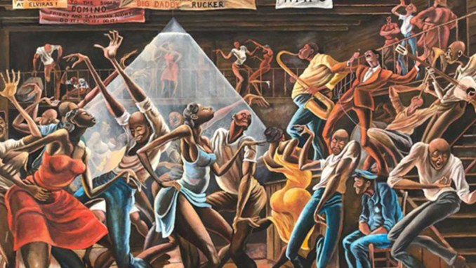 Ernie Barnes, The Sugar Shack (1976). Acrylic on canvas, 36 in. x 48 in., Collection of Jim and Jeannine Epstein. © Ernie Barnes Family Trust.