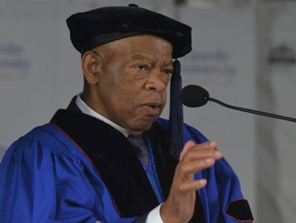 Commencement speaker and honorary degree recipient Representative John Lewis addresses the Lincoln University Class of 2019 on May 5. (Staff Photo/Bob Williams)