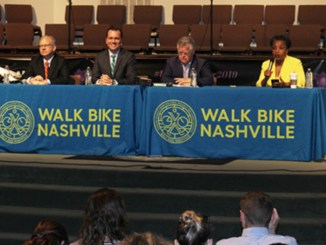 Walk Bike Nashville hosted mayoral candidates (l to r) Mayor David Briley, Rep. John Ray Clemmons, Councilman John Cooper and Dr. Carol Swain at Watson Grove Missionary Baptist Church.