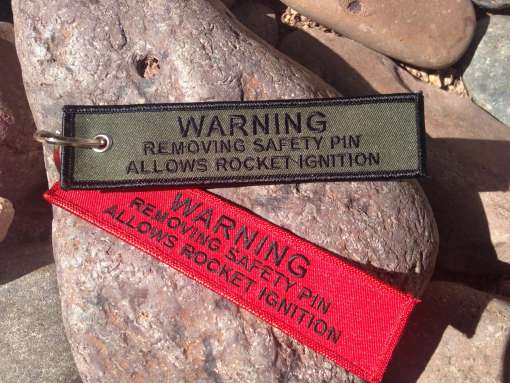 Warning Tag Keychain