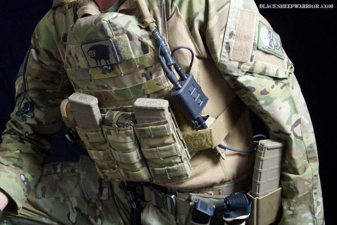 The Invisio V60 on a Blue Force Gear plate carrier. Photo Credit: Blacksheepwarrior.com
