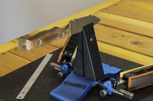Dawson Pocket Knife in the Wicked Edge Sharpener