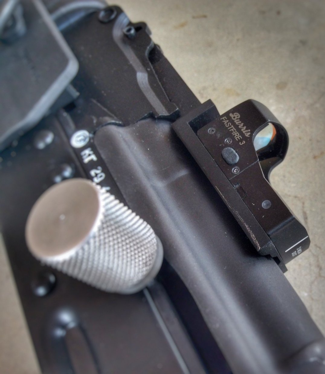 Closeup Attero Arms Burris FastFire mount on Petronov Arms AK with Coorado Shooting Sports Lighting Bolt edited