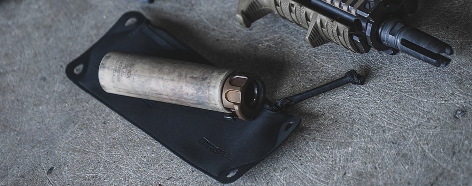 Medium Magpul DAKA Suppressor pouch with a suppressor