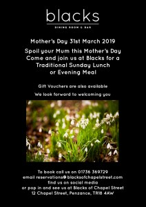 Flyer for Mother's Day at Blacks of Chapel Street