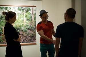Lucy Davis, Jason Wee and Kenneth Tay setting up Wood Stories by the Migrant Ecologies Project