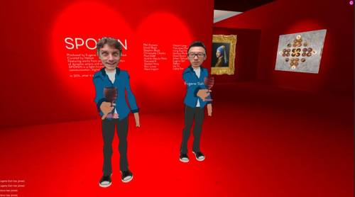 Virtual gallery curators at the opening of their exhibition