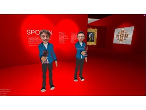 two male avatars in a very red gallery