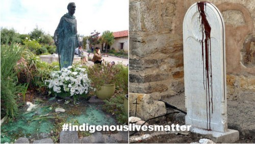 """Vandals splashed paint on statues at Carmel Mission and scrawled """"Saint of Genocide"""" on a headstone. The incident is being investigated as a hate crime, authorities say."""