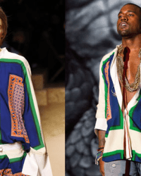 Kayne West sports a woman's blouse from the Celine Spring 2011 Collection at the Coachella 2011 Festival