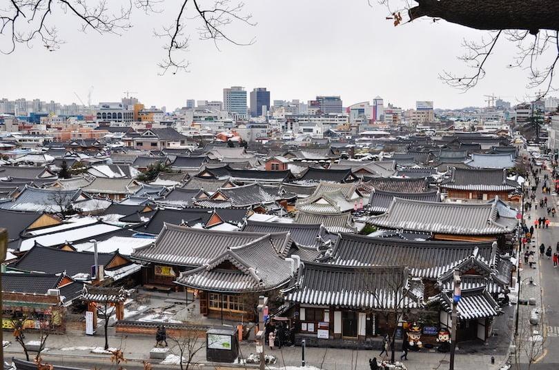 panorama kota tua jeonju, korea selatan