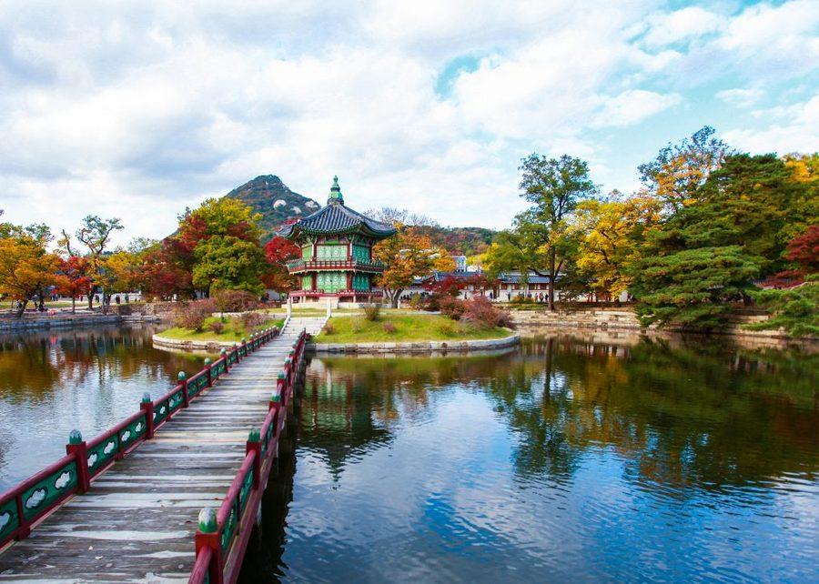 suasana taman yang asri di korea selatan