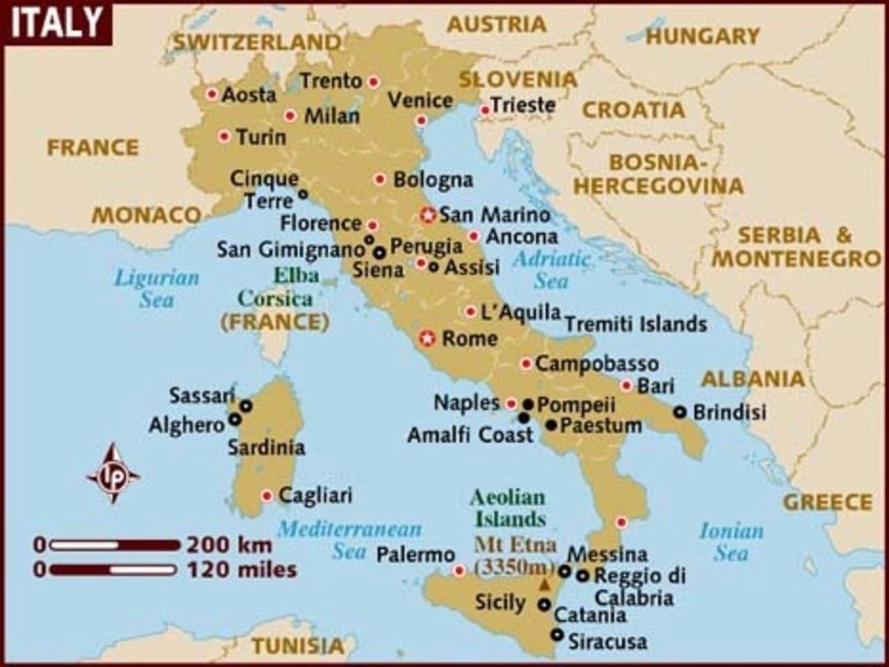 peta wilayah negara italia